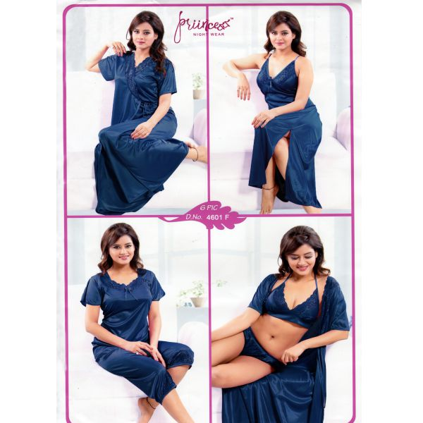 Fashionable Six Part Night Dress-4601 F