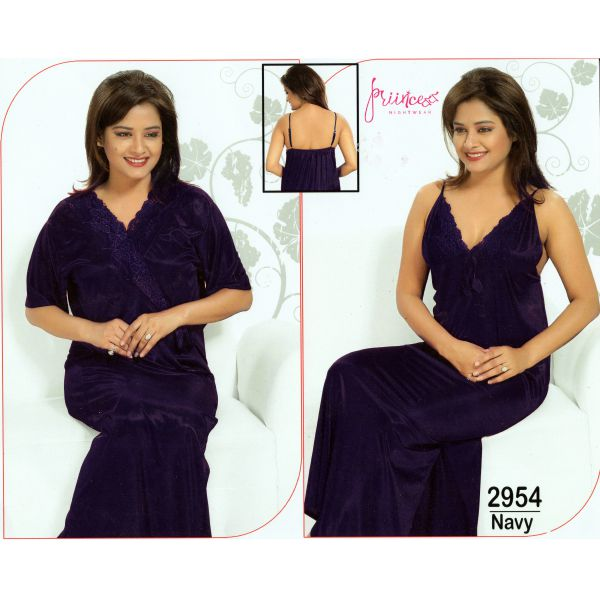Fashionable Two Part Nighty-2954 Navy