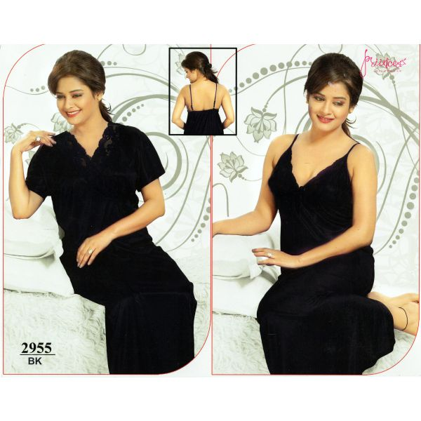 Fashionable Two Part Nighty-2955 BK