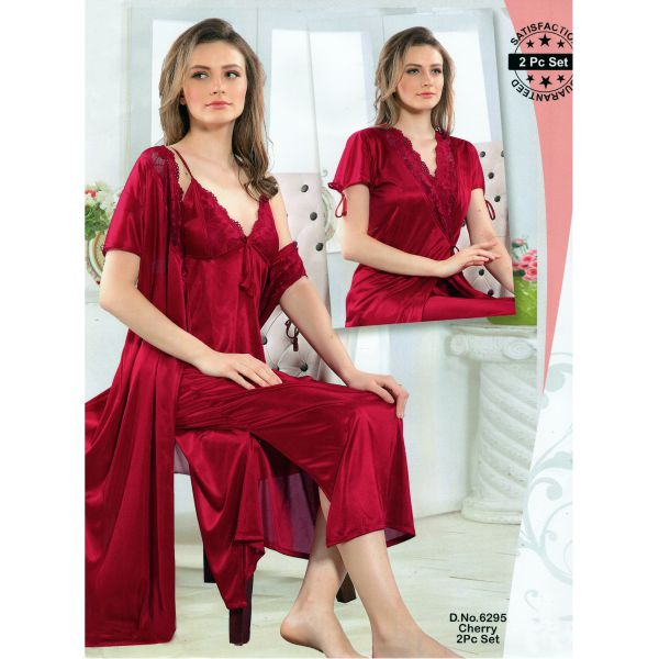 Fashionable Two Part Nighty-6295 Cherry