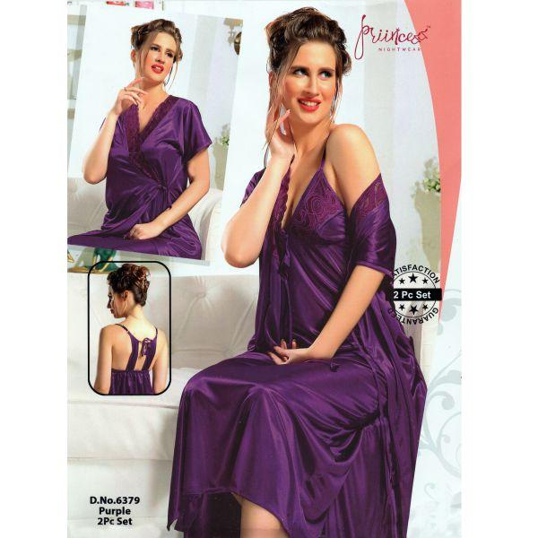 Fashionable Two Part Nighty-6379 Purple