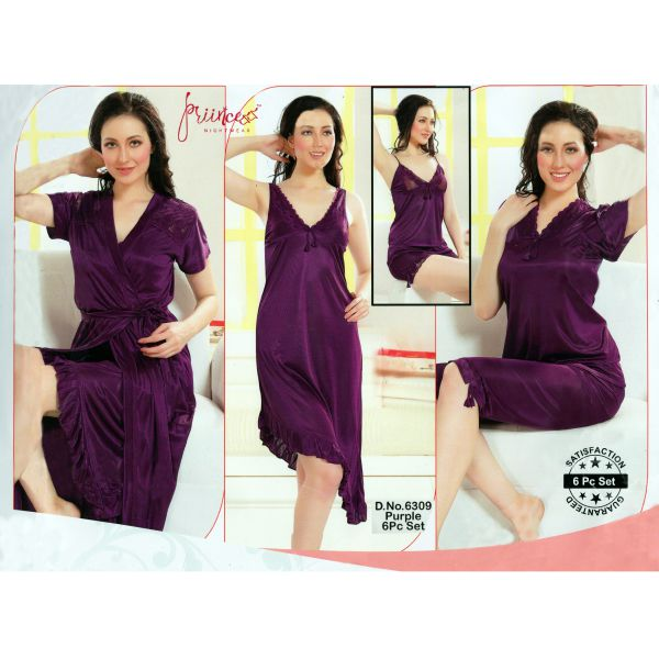 Fashionable Six Part Nighty-6309 Purple