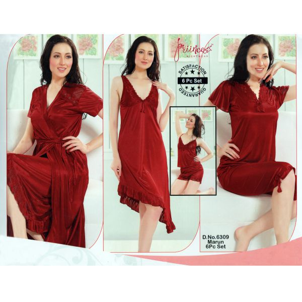 Fashionable Six Part Nighty-6309 Marun