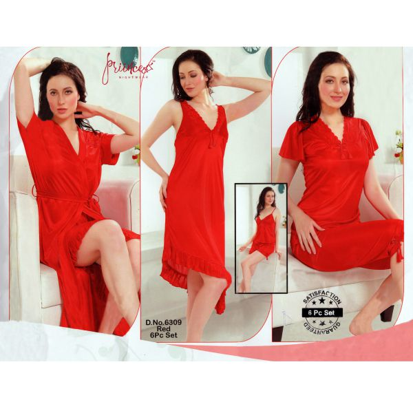 Fashionable Six Part Nighty-6309 Red