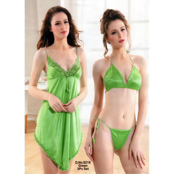 Three Part Nighty-6218 Green