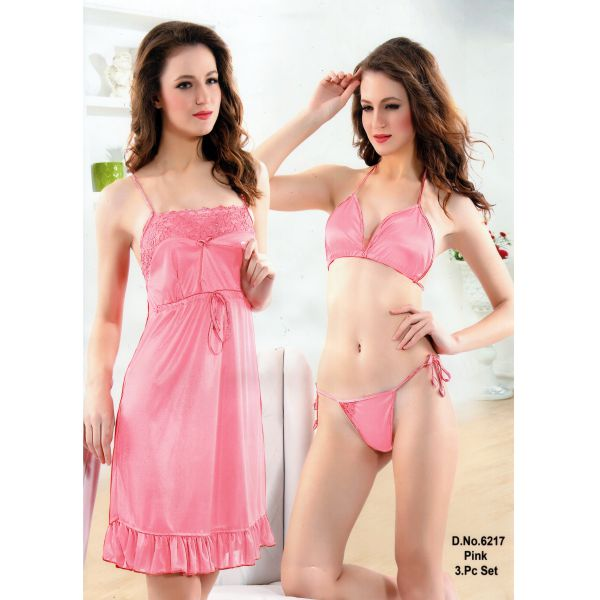 Three Part Nighty-6217 Pink