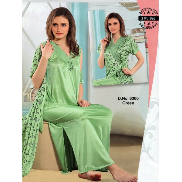 Fashionable Two Part Nighty-6300 Green