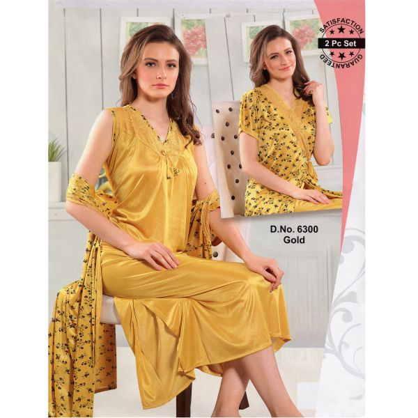 Fashionable Two Part Nighty-6300 Gold
