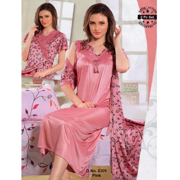 Fashionable Two Part Nighty-6300 Pink