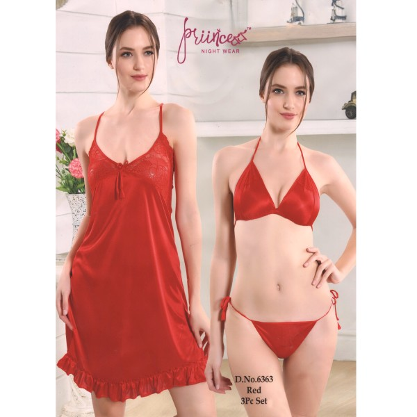 Three Part Nighty-6363 Red