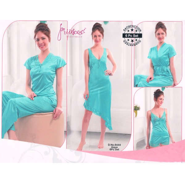 Fashionable Six Part Nighty-6444 Aqua