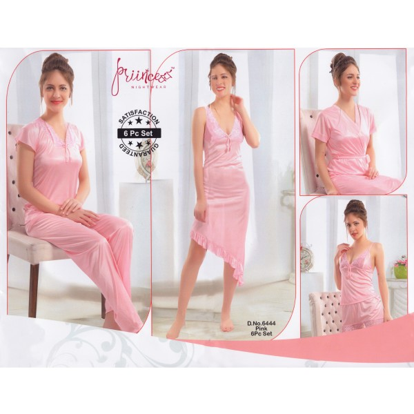 Fashionable Six Part Nighty-6444 Pink