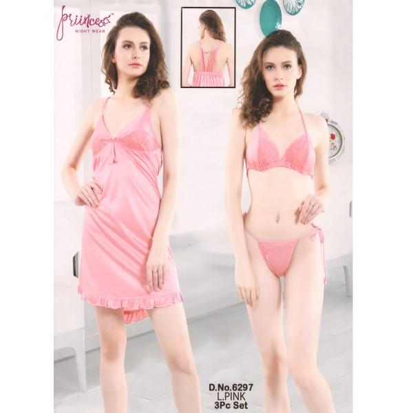 Three Part Nighty-6297 L Pink