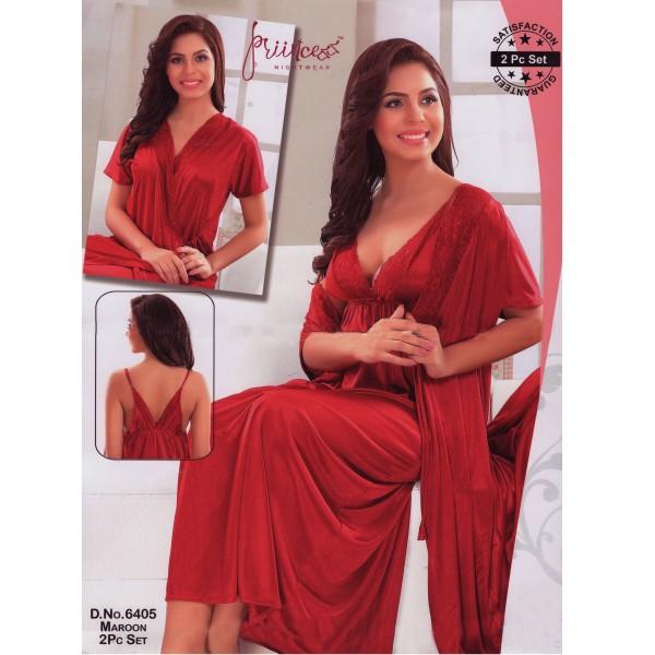 Two part Night Dress-6405 Marun