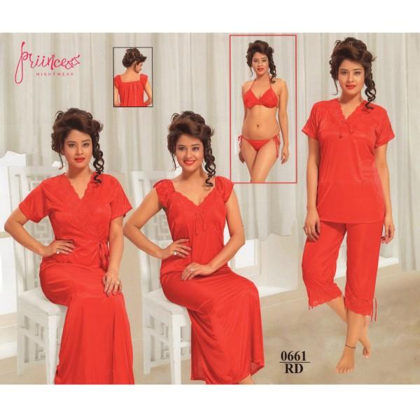 Fashionable Six Part Nighty-0661 RD