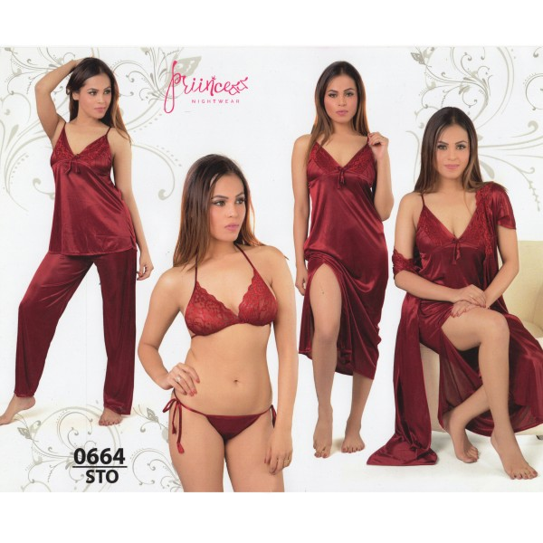Fashionable Six Part Nighty-0664 STO
