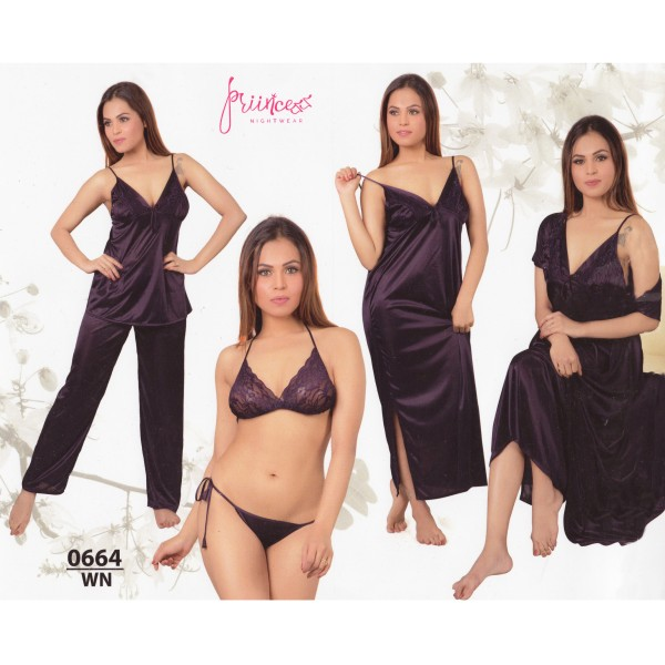 Fashionable Six Part Nighty-0664 WN