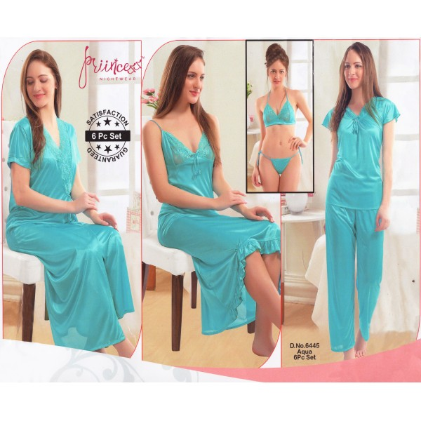 Fashionable Six Part Nighty-6445 Aqua