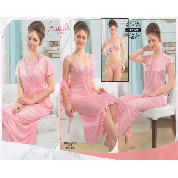 Fashionable Six Part Nighty-6445 Pink