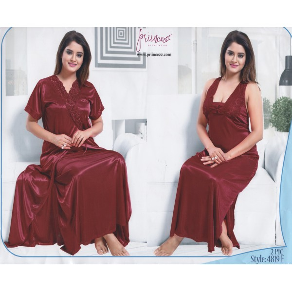 Fashionable Two Part Nighty-4819 F