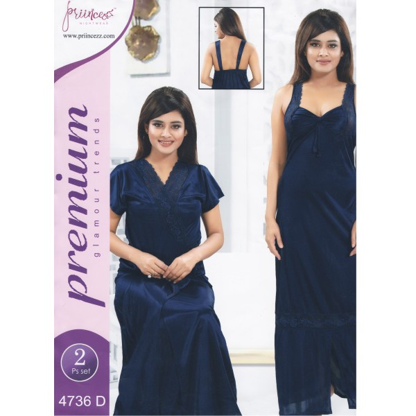 Fashionable Two Part Nighty-4736 D