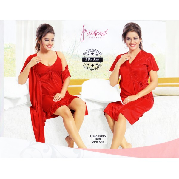 Fashionable Two Part Nighty-5895 Red