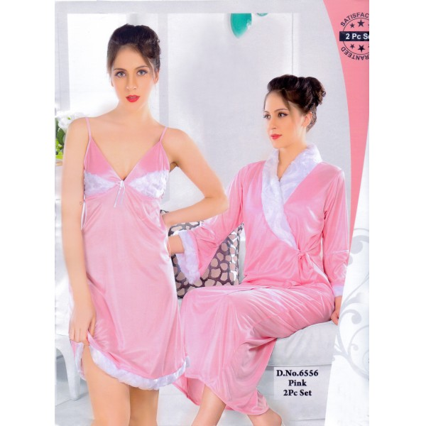 Fashionable Two Part Nighty-6556 Pink