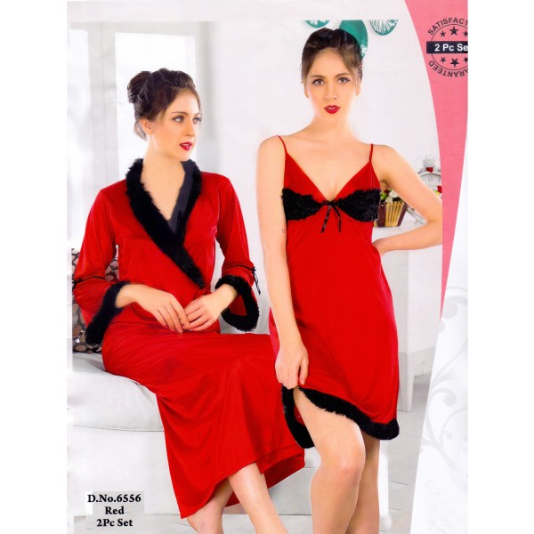 Fashionable Two Part Nighty-6556 Red