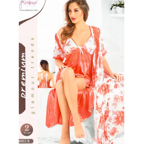 Fashionable Two Part Nighty-4863 B