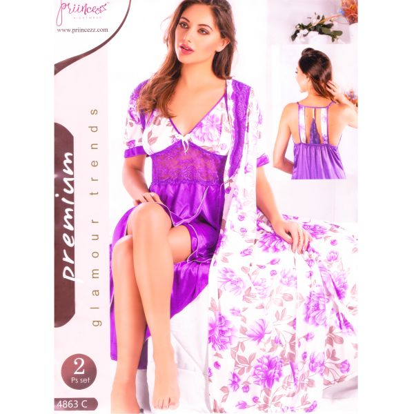 Fashionable Two Part Nighty-4863 C