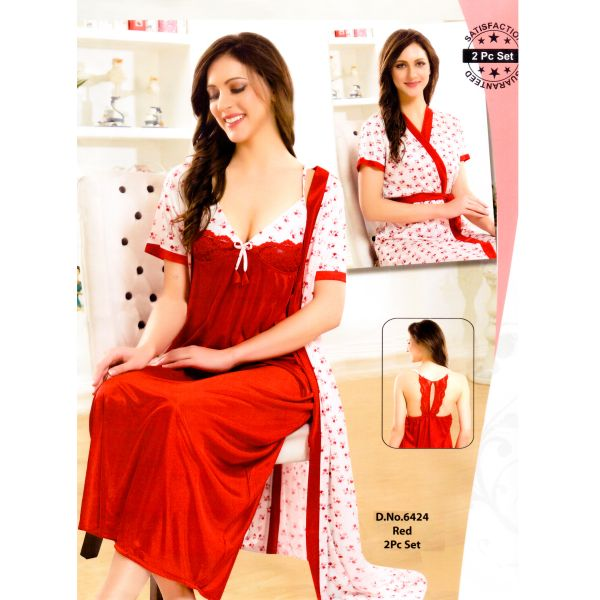 Fashionable Two Part Nighty-6424 Red