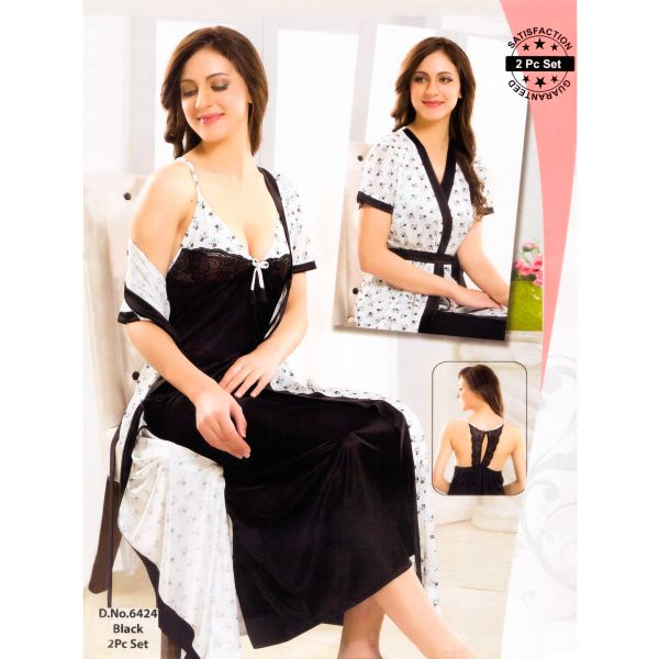 Fashionable Two Part Nighty-6424 Black