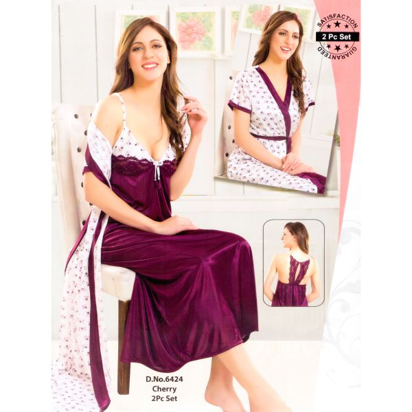 Fashionable Two Part Nighty-6424 Cherry