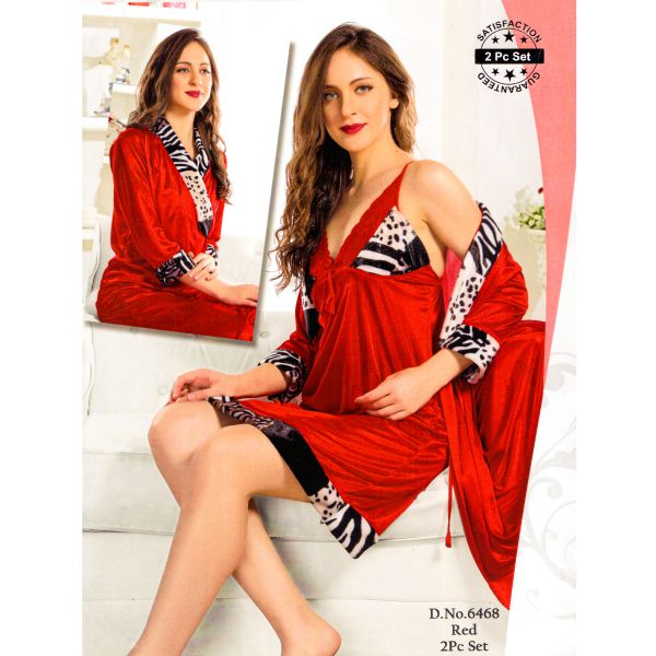Fashionable Two Part Nighty-6468 Red