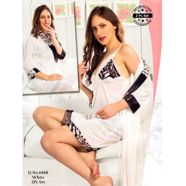 Fashionable Two Part Nighty-6468 White