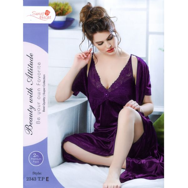Fashionable Two Part Nighty-2343 T.P E