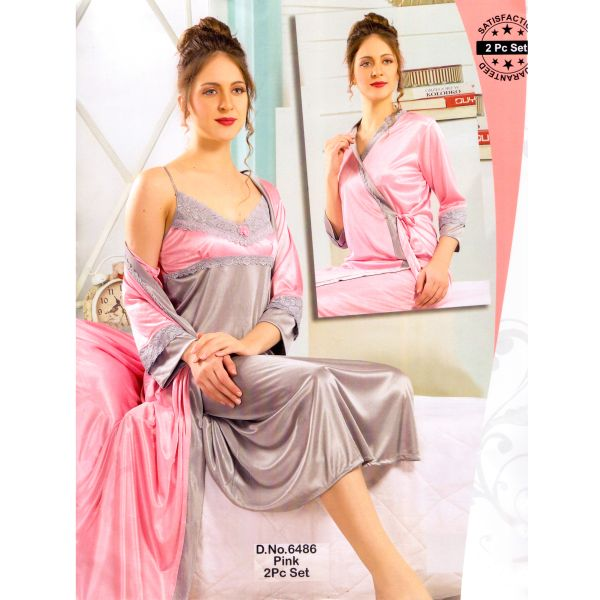 Fashionable Two Part Nighty-6486 Pink