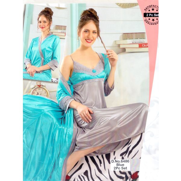 Fashionable Two Part Nighty-6486 Blue
