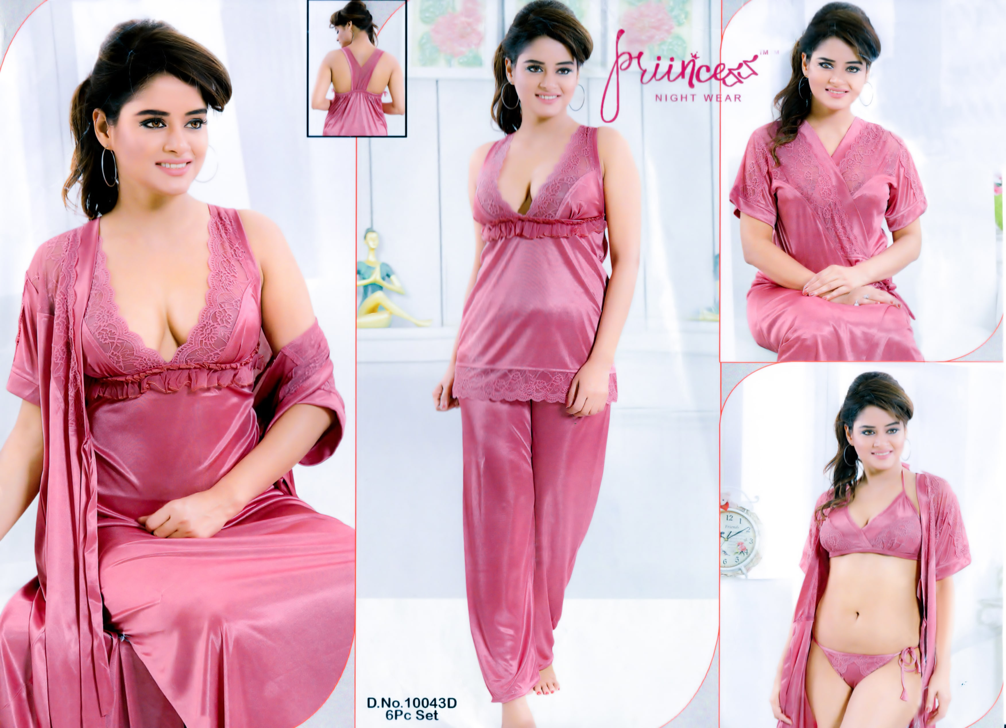 Fashionable Six Part Nighty-10043-D
