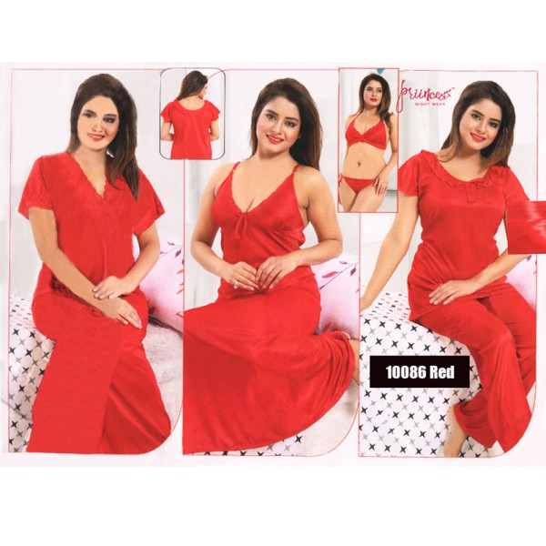 Fashionable Six Part Nighty-10086 Red