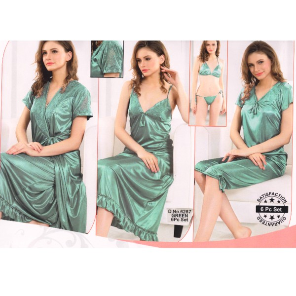 Fashionable Six Part Nighty-6287 Green