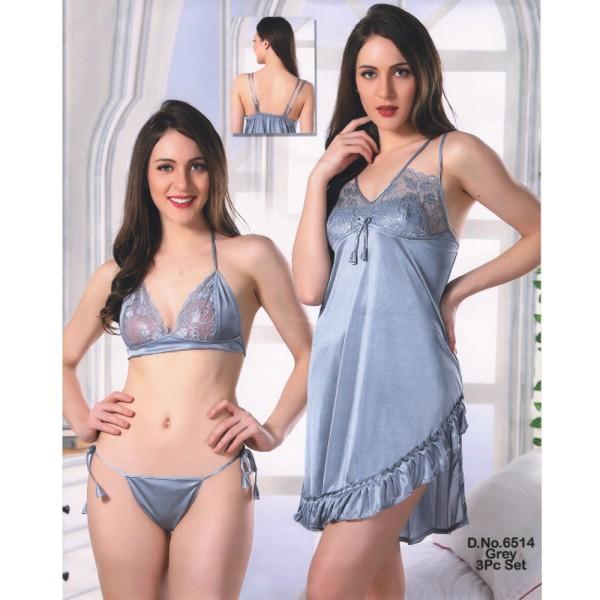 Fashionable Three Part Nighty-6514 Grey