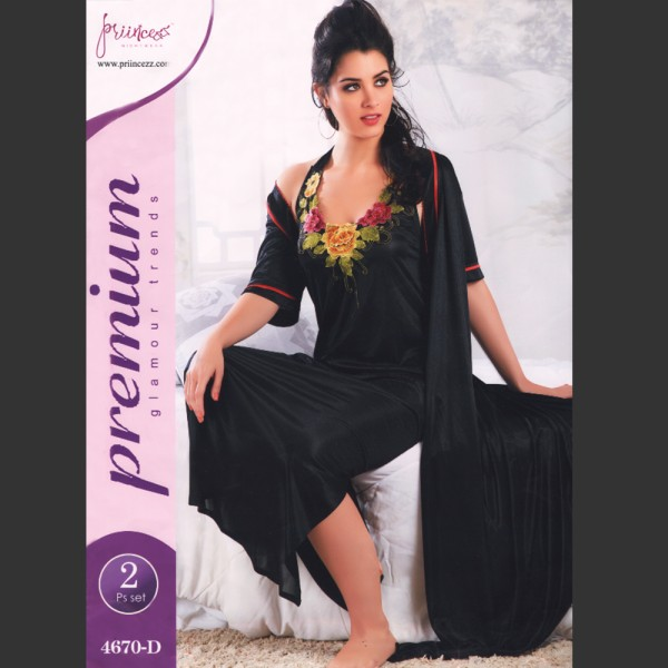 Fashionable Two Part Nighty-4670 D