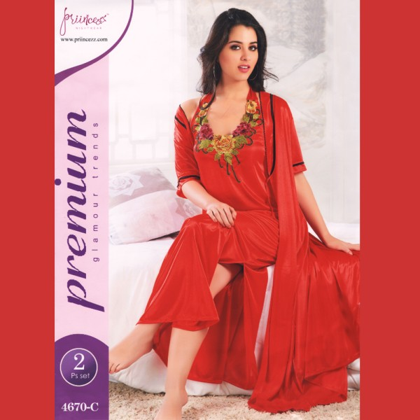Fashionable Two Part Nighty-4670 C