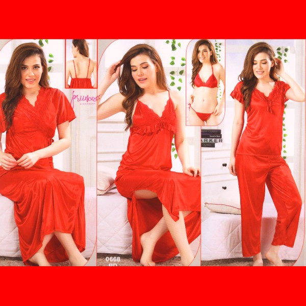 Fashionable Six Part Nighty-0668 RD