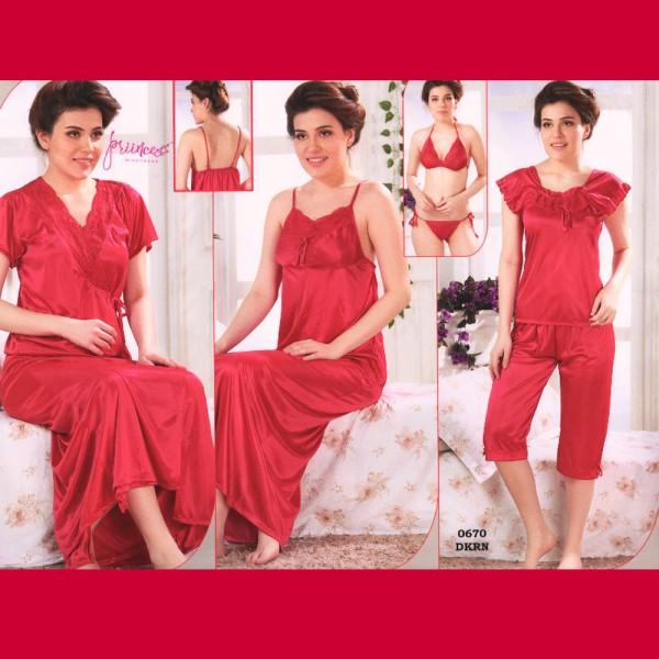 Fashionable Six Part Nighty-0670 DKRN