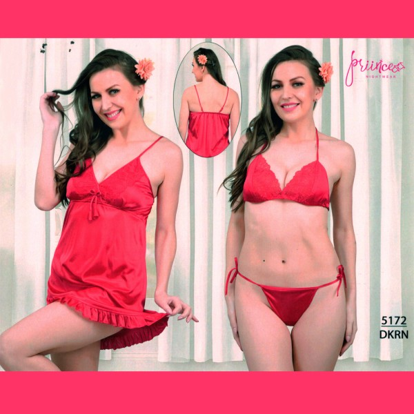 Fashionable Three Part Nighty-5172 DKRN
