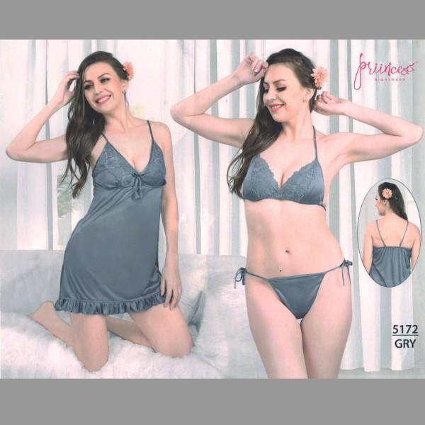 Fashionable Three Part Nighty-5172 GRY