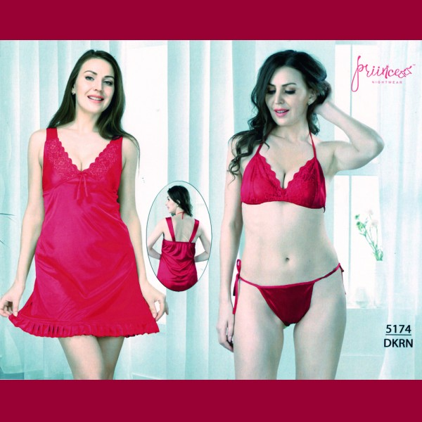 Fashionable Three Part Nighty-5174 DKRN