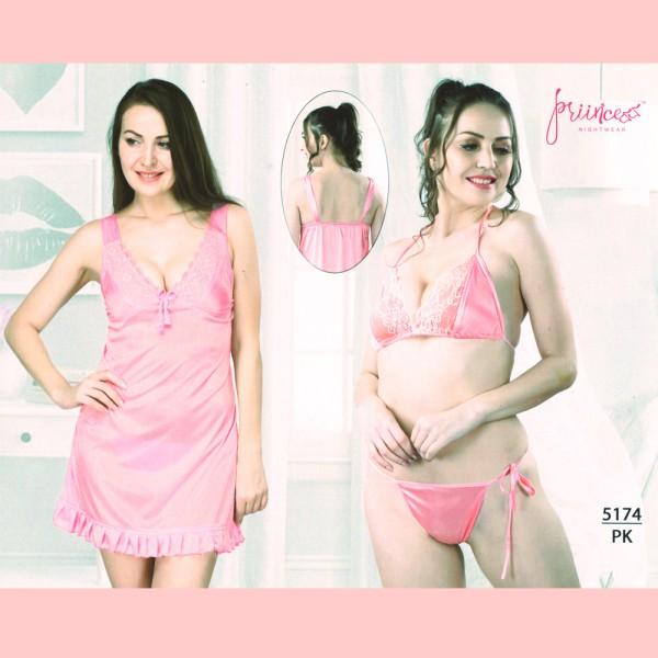 Fashionable Three Part Nighty-5174 PK